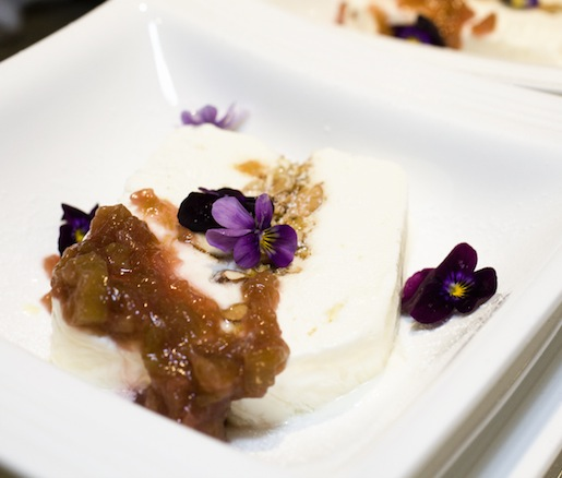 Frozen Elderflower Terrine with Salted Almond Brittle and Rhubarb Compote