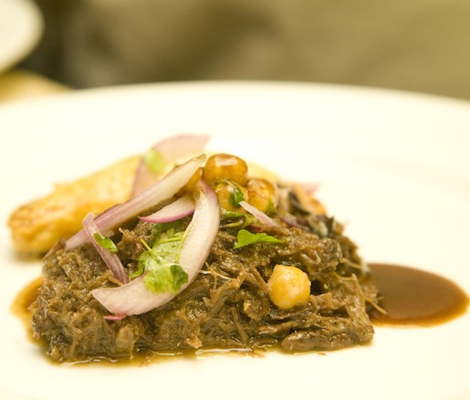 Braised Beef Cheeks with Ratatouille Empanada and Crispy Chickpea Salad