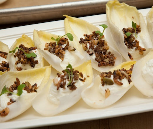 Endive with Fresh Curds and Grain–Seed Praline