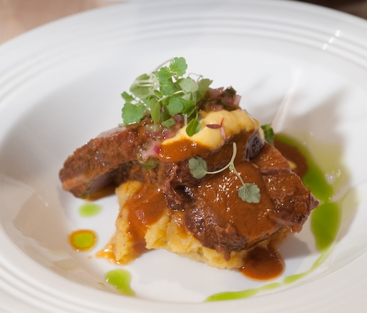 Braised Beef Short Ribs with Twice-Cooked Potato, Jalapeño Salsa Criolla, and Huancaína