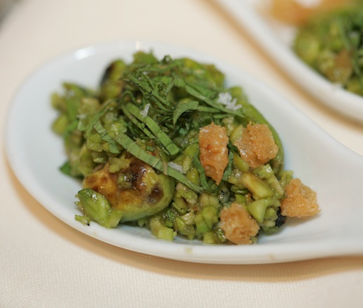 Grilled Fava Beans with Dry-Aged Croutons and Mint