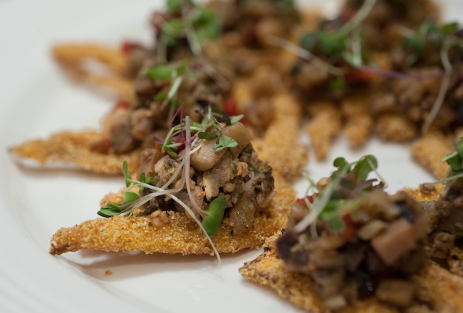 Cornmeal-Dusted Fennel Chips with Eggplant–Tomato Tapenade