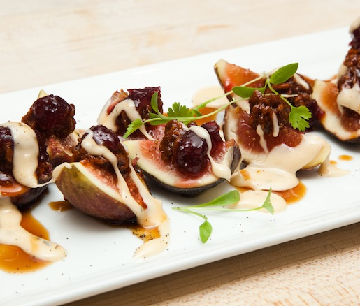 Spiced Pecan Butter–Stuffed Figs with Red Onion Jam and Bûcheron Cheese