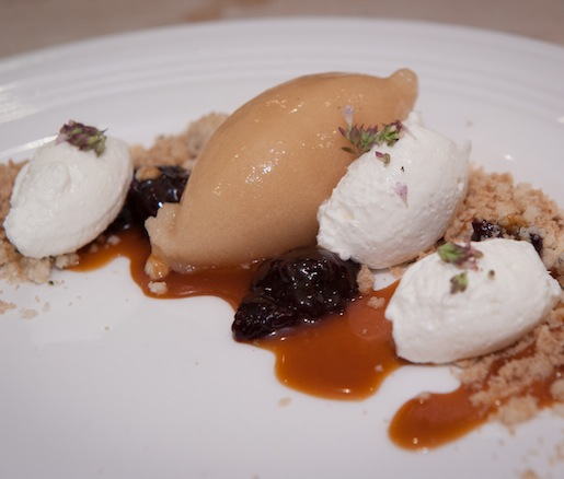 Oregon Hazelnut Financier with Starkrimson Pear, Five Mile Honey Gelato, Apricot Glaçage, and Huckleberry Crocante