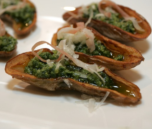 Crispy Fingerling Potato Skins with Guanciale, Salsa Verde, and Manchego