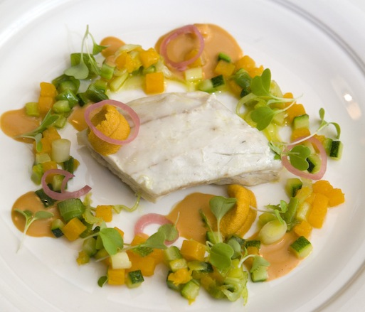 Present > Poached Mediterranean Sea Bass with Zucchini, Leeks, Sea Urchin, and Lobster Jus