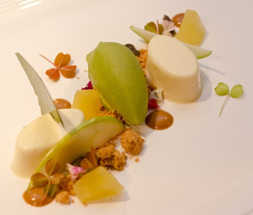 Goat Cheese Flan with Apple–Celery Sorbet, Peanut Praline, and Candied Olives