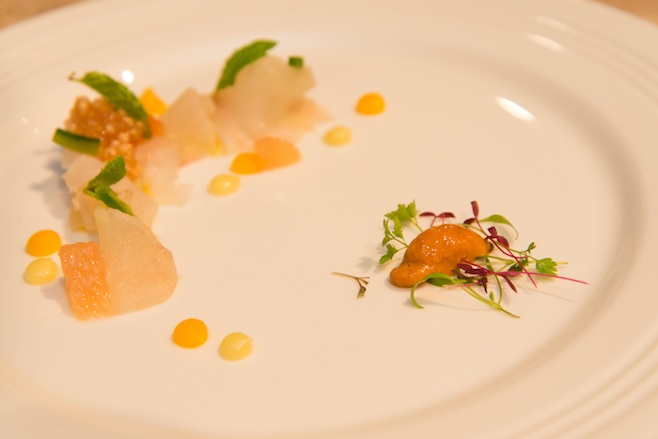 Chesapeake Fluke Crudo with Citrus Purée, Uni, Earl Grey Tapioca, Chiles, and Cunningham Farms Greenhouse Vegetables