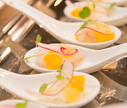 Local Fluke Crudo with Radishes, Orange, and Lemon–Saffron Gel