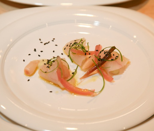 Long Island Fluke Crudo with Red Onions, Ramps, Scallions, and Leeks