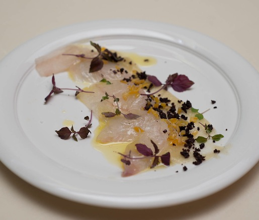 Fluke Crudo with Olives, Preserved Meyer Lemon, and Apple Purée