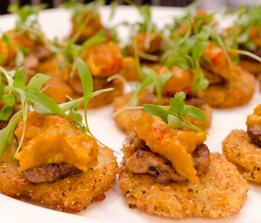 Foie Gras with Fried Green Tomatoes, Crayfish Étouffée, and Petite Cilantro