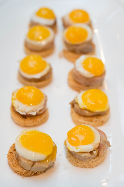 Foie Gras Benedict > Foie Gras Torchon with Quail Eggs on Brioche