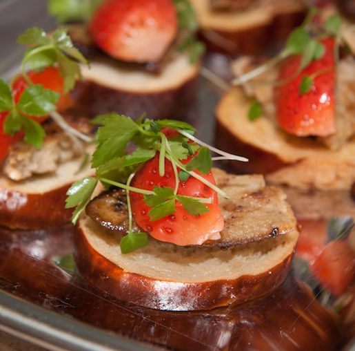 Foie Gras with Pickled Strawberries and Fleur de Sel on Bretzel Bread