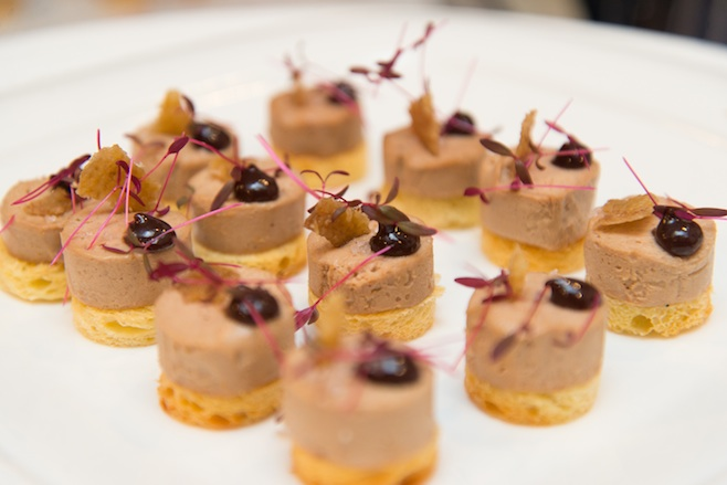 Foie Gras Torchon with Spiced Red Wine–Concord Grape Jam and Crispy Duck Skin on Potato Bread Toasts