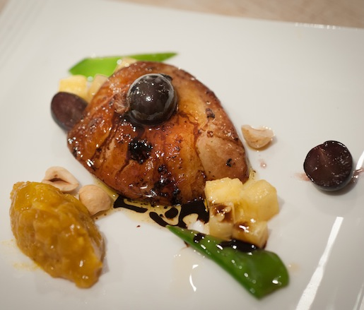 Sautéed Foie Gras with Grapes, Pineapple–Mango Chutney, and Hazelnuts