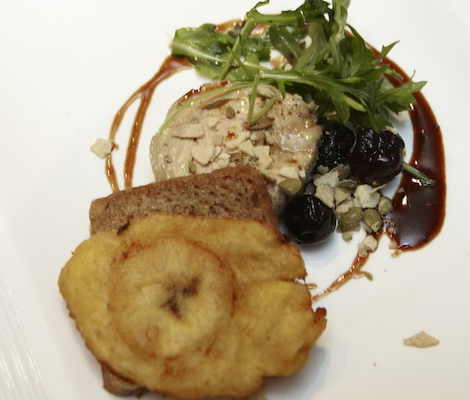 Pepita-Crusted Foie Gras Torchon Ensalada with Plantain Bread French Toast and Ancho–Guajillo Honey