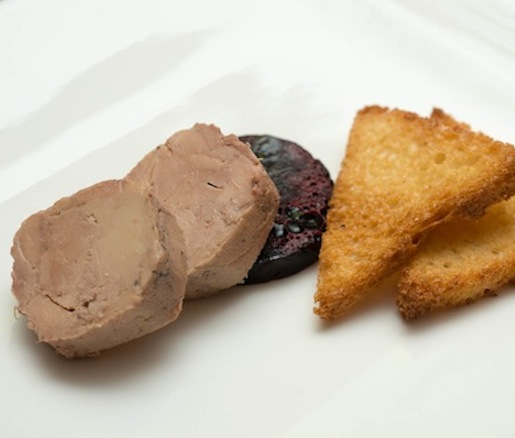 Hudson Valley Foie Gras au Torchon with Oregon Huckleberry Compote on Brioche Toast