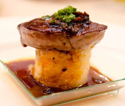 Seared Foie Gras with Autumn Vegetables and Black Truffle–Veal Reduction