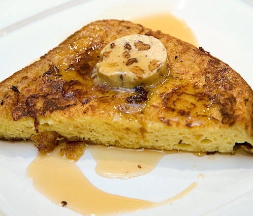 French Toast with Foie Gras, Toasted Pecans, and Maple Syrup