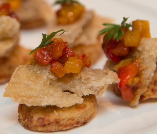 Fried Vinegar Chicken with Adirondack Cheddar Crackers and Mixed Sweet-and-Spicy Pepper Relish