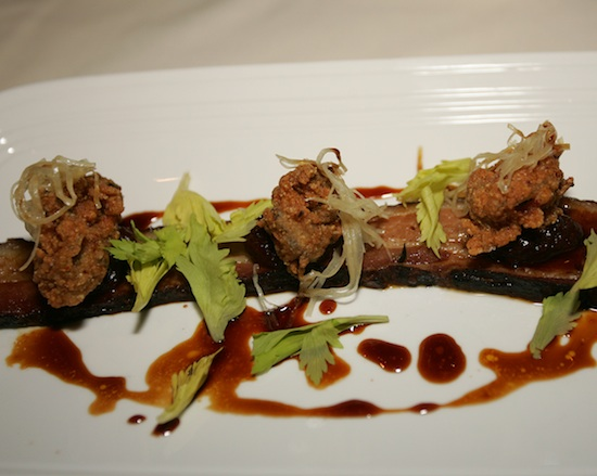 Fried Montauk Oysters with Braised Chile Bacon, Horseradish, and Molasses Jus