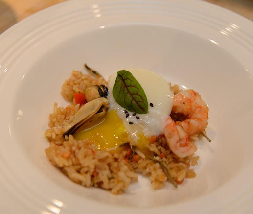 Nasi Goreng > Indonesian Fried Rice with Shrimp, Salted Fish, Mussels, Sweet Soy Sauce, Sambal, Coddled Feather Ridge Farm Egg, and Red Ribbon Sorrel
