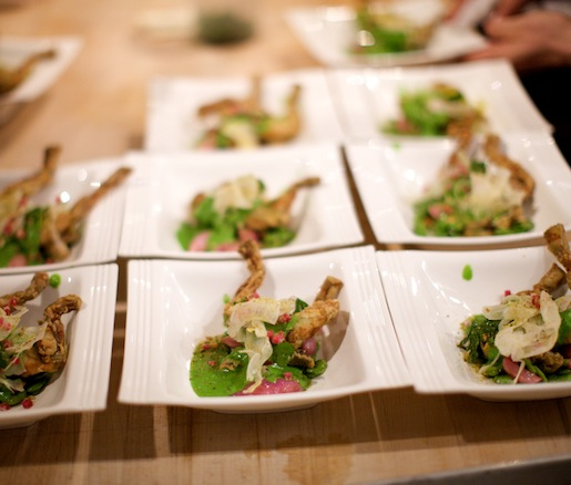 Whelks and Frogs' Legs with Parsley, Garlic, Radishes, and Fava Beans