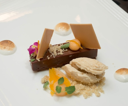 Gianduja Chocolate Ganache with Orange Froth, Hazelnut Ice Cream, and Toasted Marshmallow