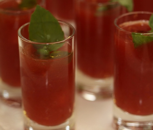 Heirloom Tomato Gazpacho Shooters with Micro-Opal Basil and Olive Oil