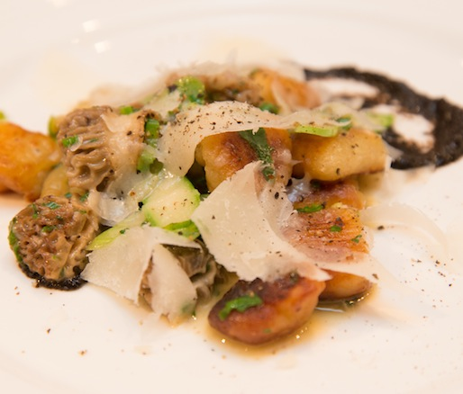 Crispy Potato Dumplings with Morels, Asparagus, and Pecorino
