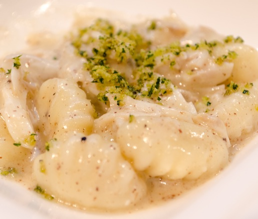 Potato Gnocchi with Maryland Blue Crab and Black Truffle Emulsion