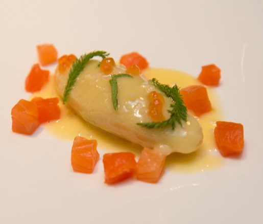 Yarrow–Ricotta Gnocchi with Cured Roe, Smoked Salmon, and Grey Goose Vodka Beurre Blanc
