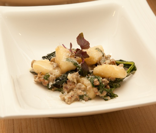 Potato Gnocchi with Spicy Duck Sausage and Greens