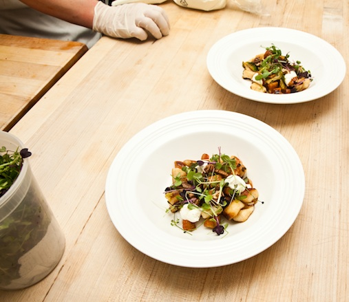 Pan-Seared SarVecchio Gnocchi with Sweet Potatoes, Brussels Sprouts, Fantôme Farm Goat Cheese, Hickory Nuts, and Grape Must