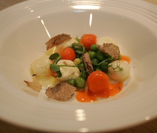 Ricotta Gnudi with Peas, Carrots, and Summer Truffles
