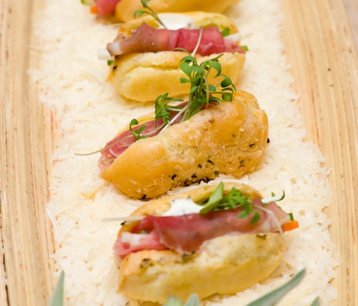 Smoked Bresaola–Root Vegetable Gougères with Creamy Truffle Dressing