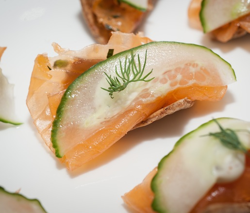Irving St. Kitchen Gravlax with Sauce Gribiche on Rye Crackers