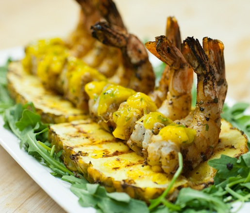 Grilled Shrimp with Smoked Mango and Jalapeño Relish