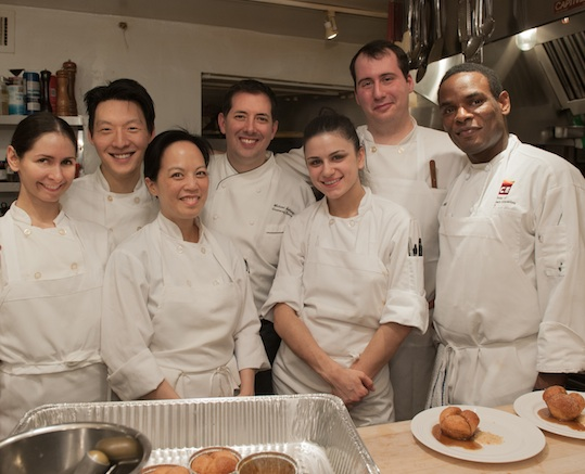 Chef Michael Anthony with his team in the Beard House Kitchen
