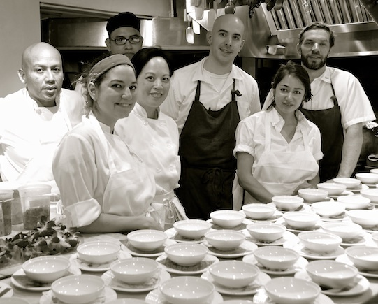 Matt Danzer and Ann Redding and their team in the James Beard Kitchen