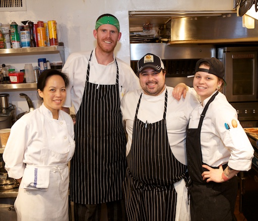 Chef David Santos with his team in the James Beard House Kitchen