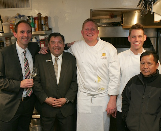Chef Matthew Johnson with his team in the James Beard House Kitchen
