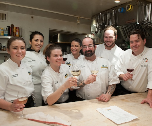 Chef Ben Simpkins with his team in the James Beard House Kitchen