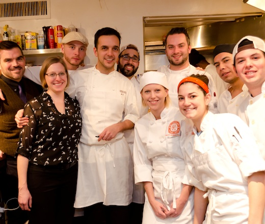 Chef Marc Vidal with his team in the James Beard House Kitchen