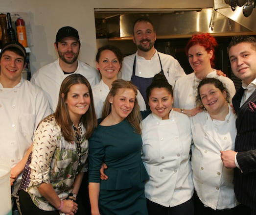 Chef Ty Kotz and Pastry Chef Cassandra Shupp with their team in the James Beard House Kitchen