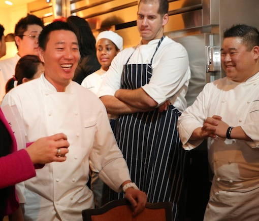 Chef Akira Back with his team in the James Beard House Kitchen