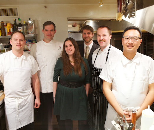 Chef Daniel Causgrove with his team in the James Beard House Kitchen