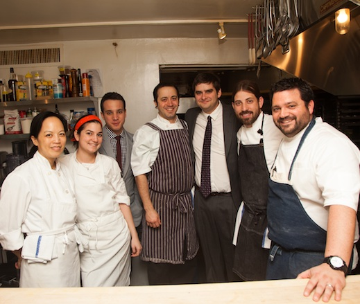 Chefs Andrew Ticer and Michael Hudman with their team at the James Beard House Kitchen
