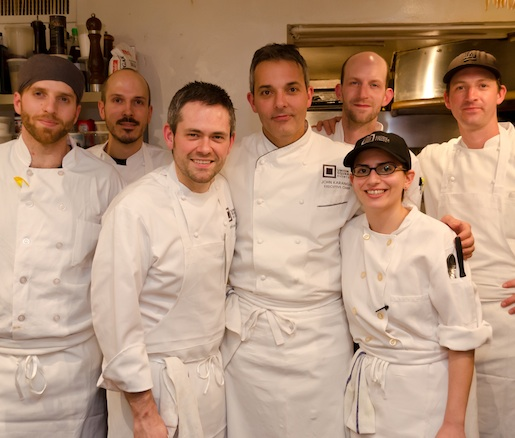 Chef John Karangis and Pastry Chef Daniel Keehner with their team in the James Beard House Kitchen